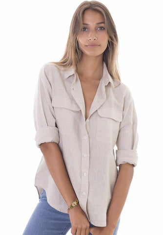 Kim, Blue Melange Pop-Over Linen Tunic Shirt