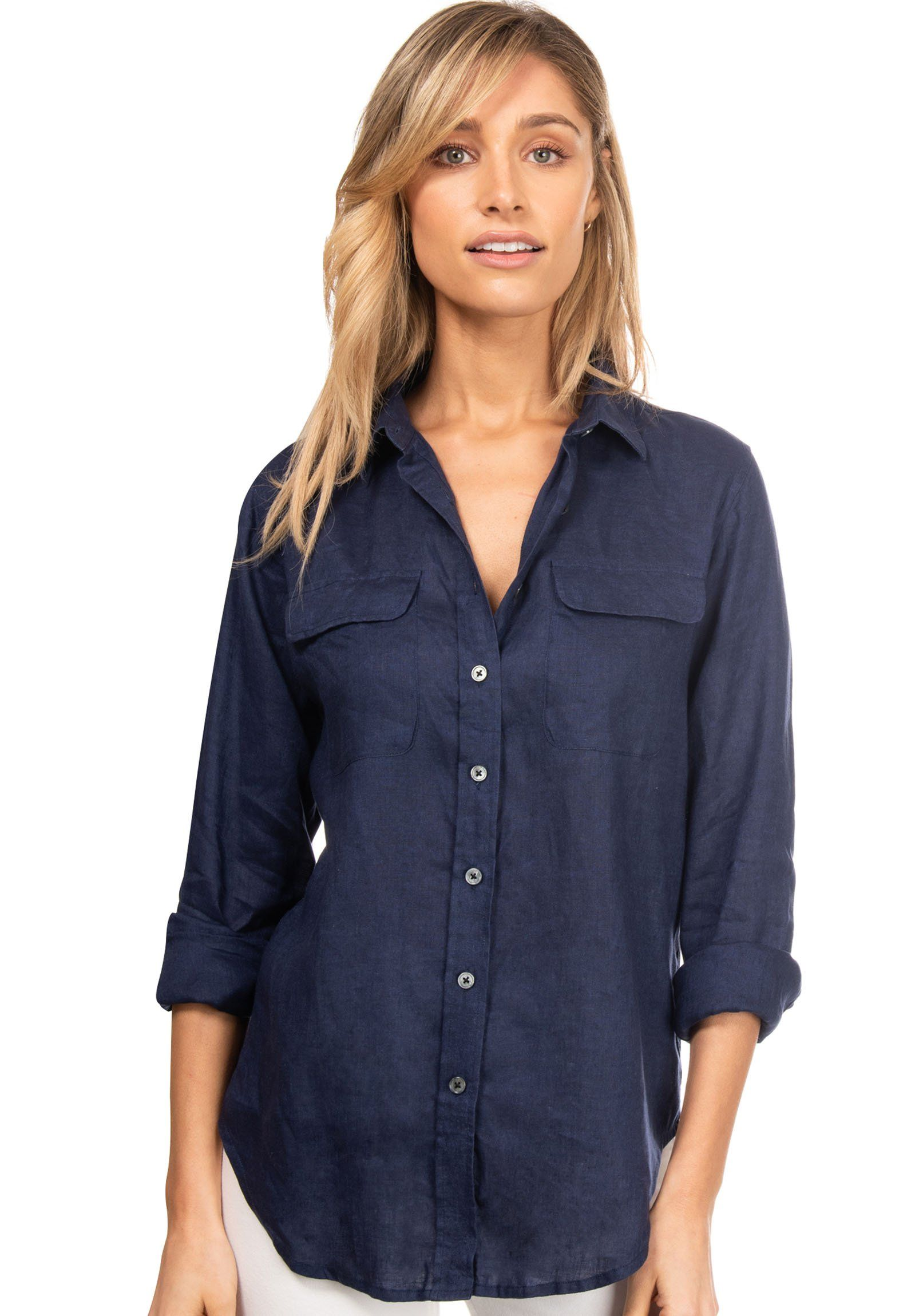 Lete Navy Blue, Relaxed Linen Shirt with Pockets