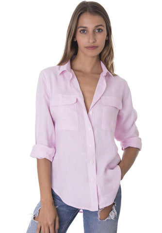 Lete Sky Blue, Relaxed Linen Shirt with Pockets