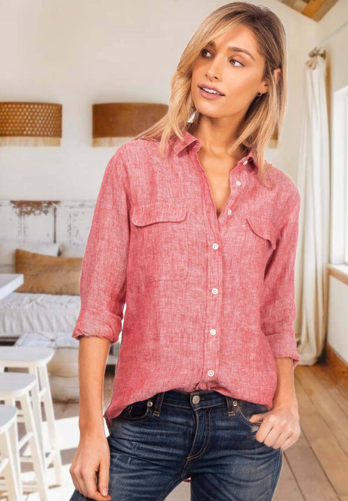 Lete Red Melange, Relaxed Linen Shirt with Pockets