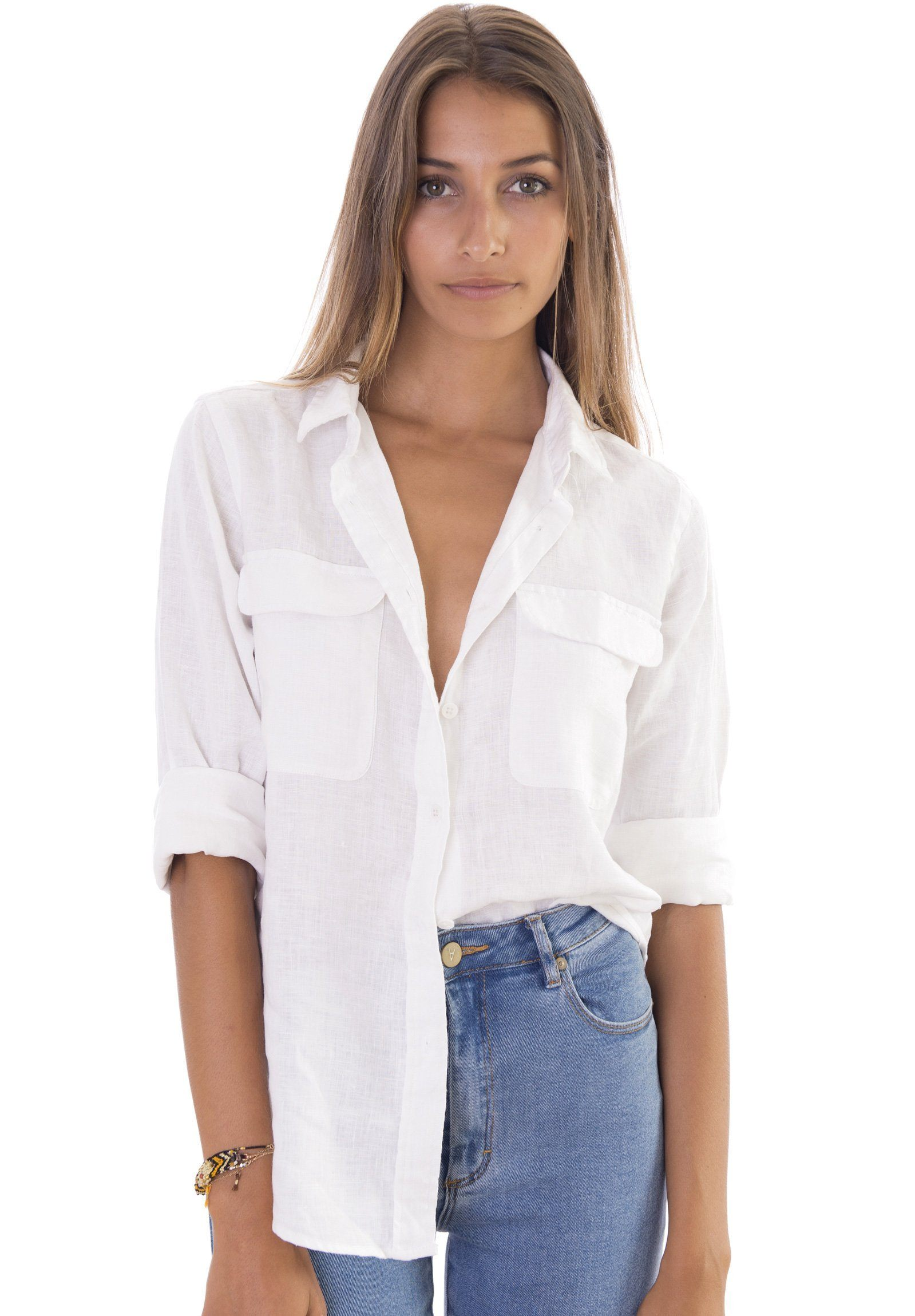 20007105 Lete White, Relaxed Linen Shirt with Pockets – CAMIXA