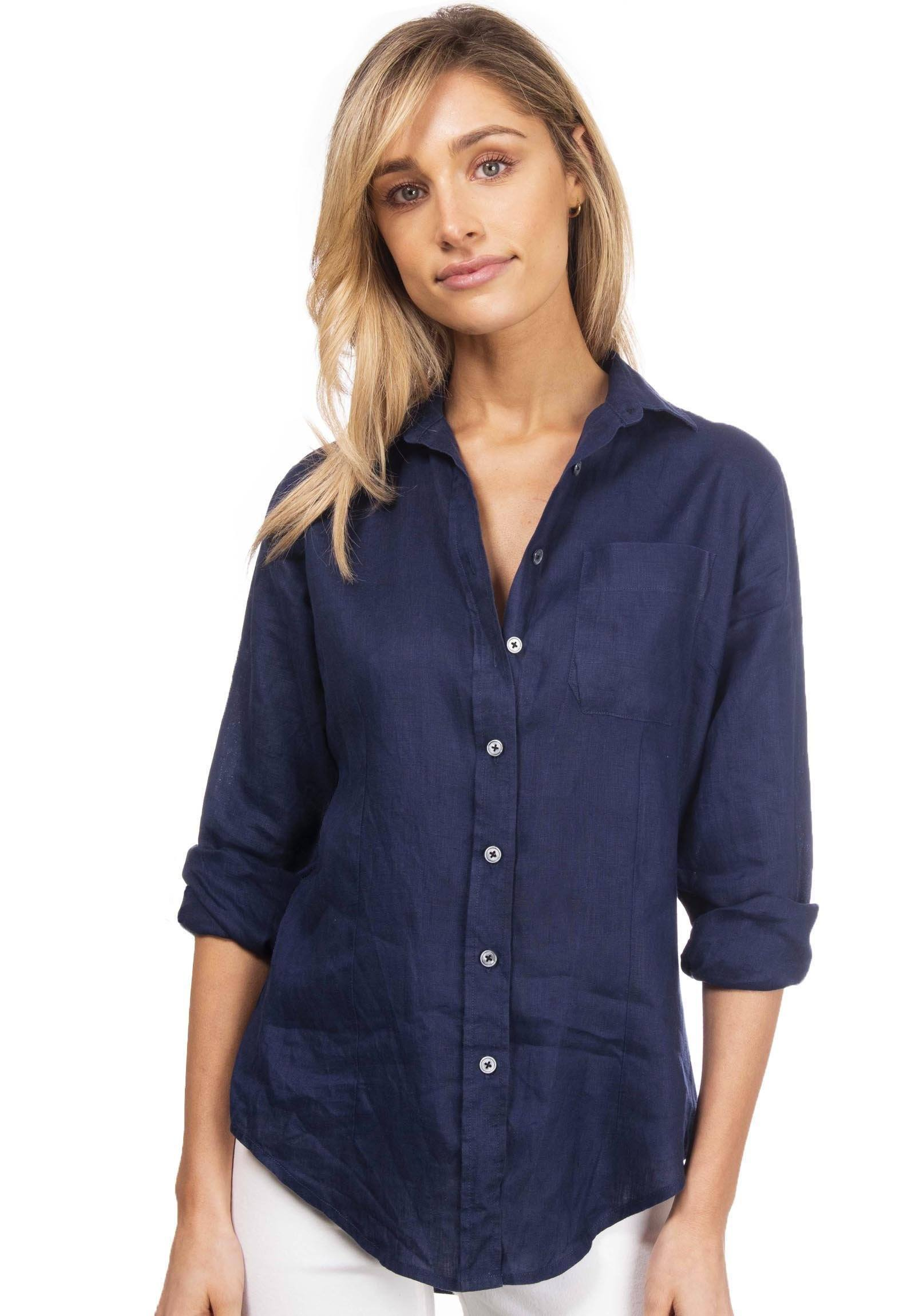 Lina Navy Blue, Sand Washed Linen Shirt