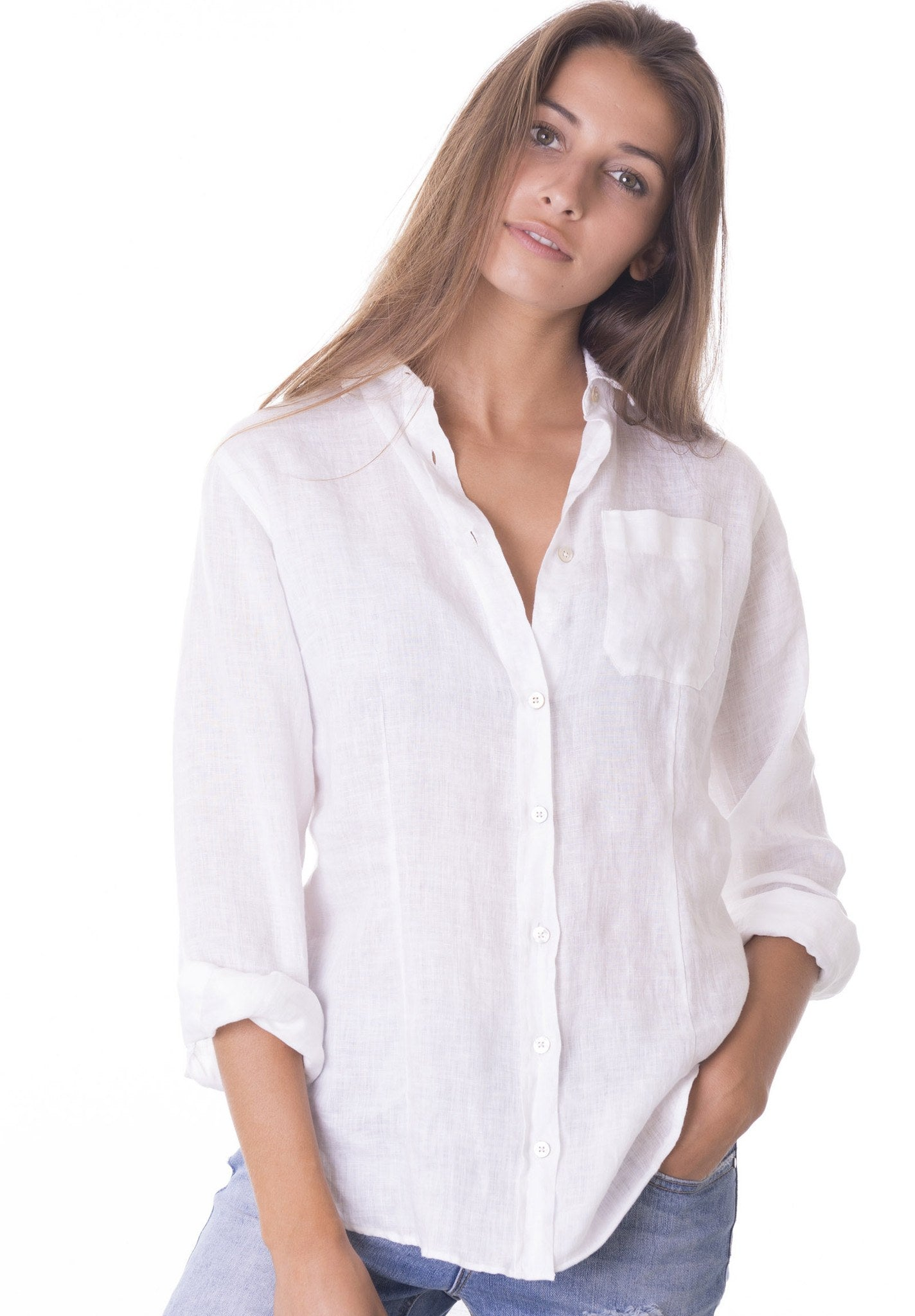 Lina White, Crushed Linen Shirt – CAMIXA