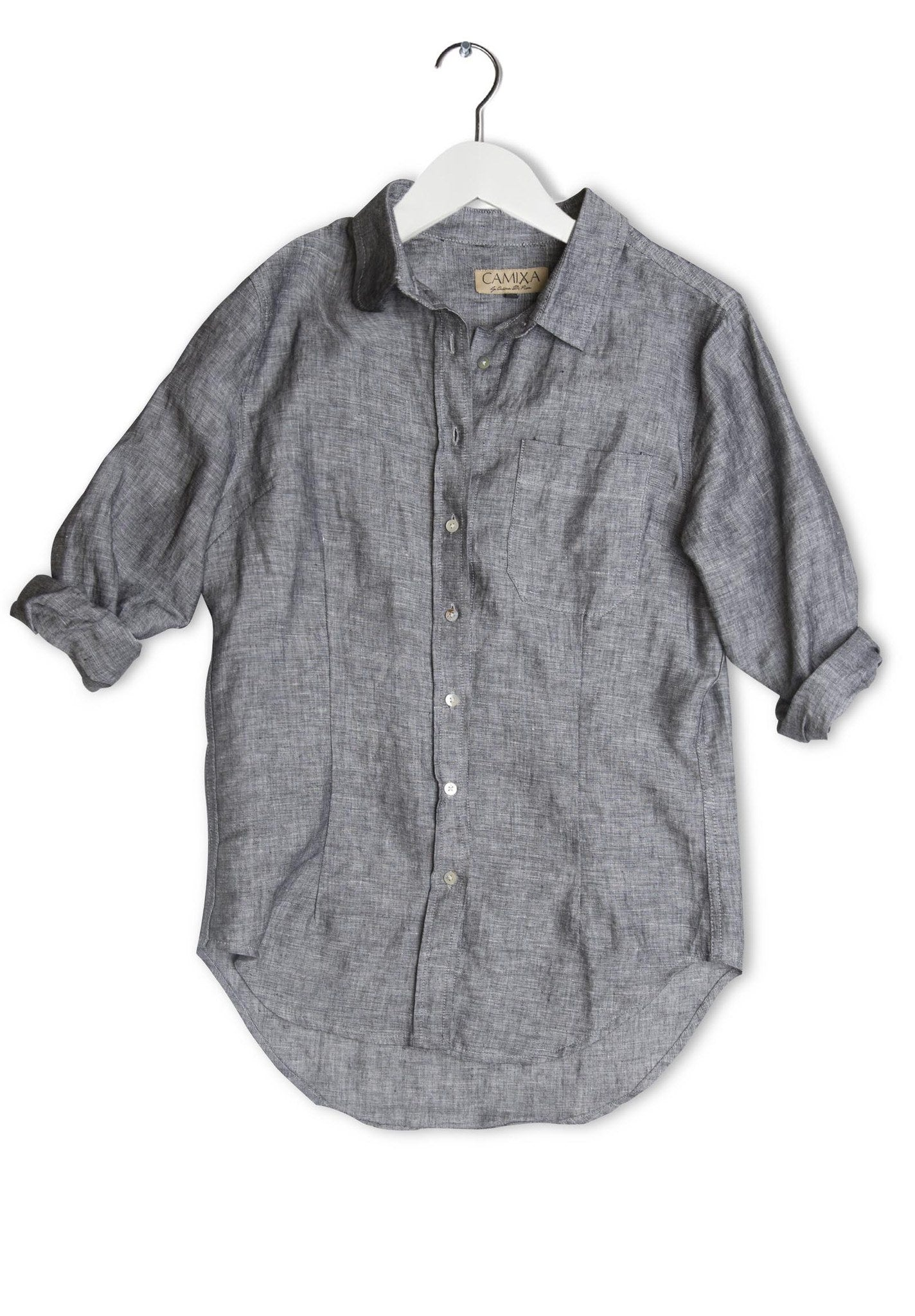 Lina Black Melange, Crushed Linen Shirt