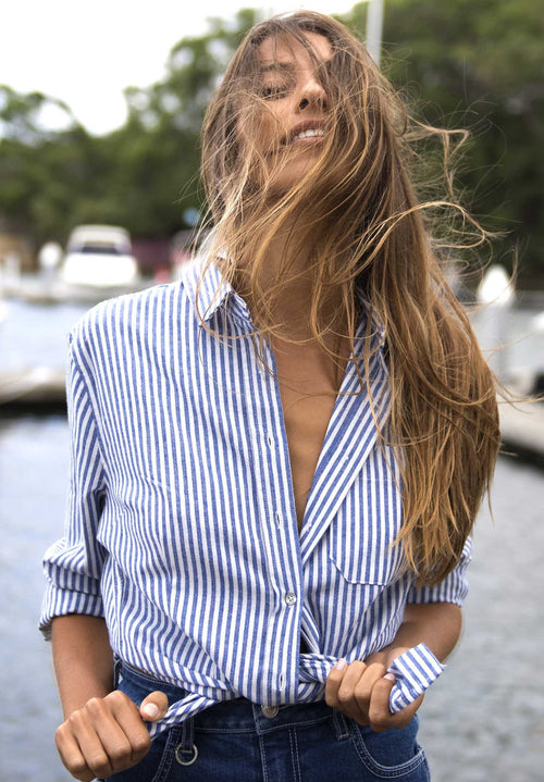 Rina Navy Blue, Pin Striped Linen Shirt