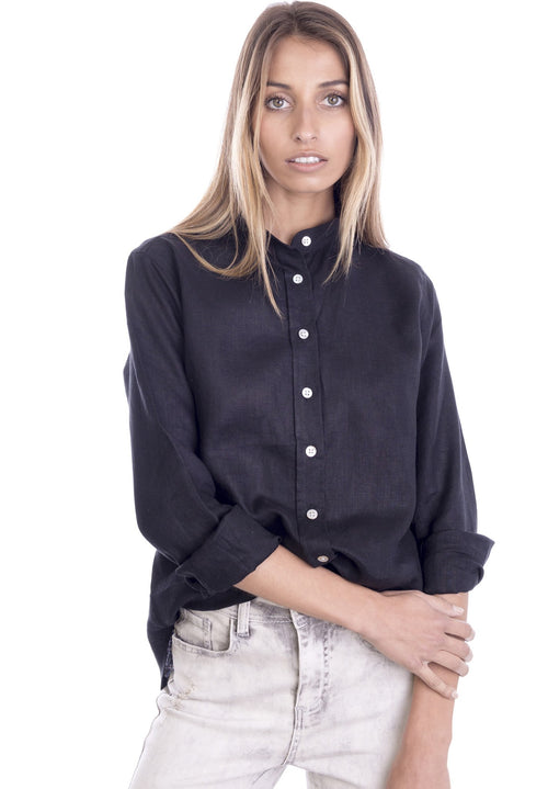 Lotus Black Mandarin Collar Linen Shirt