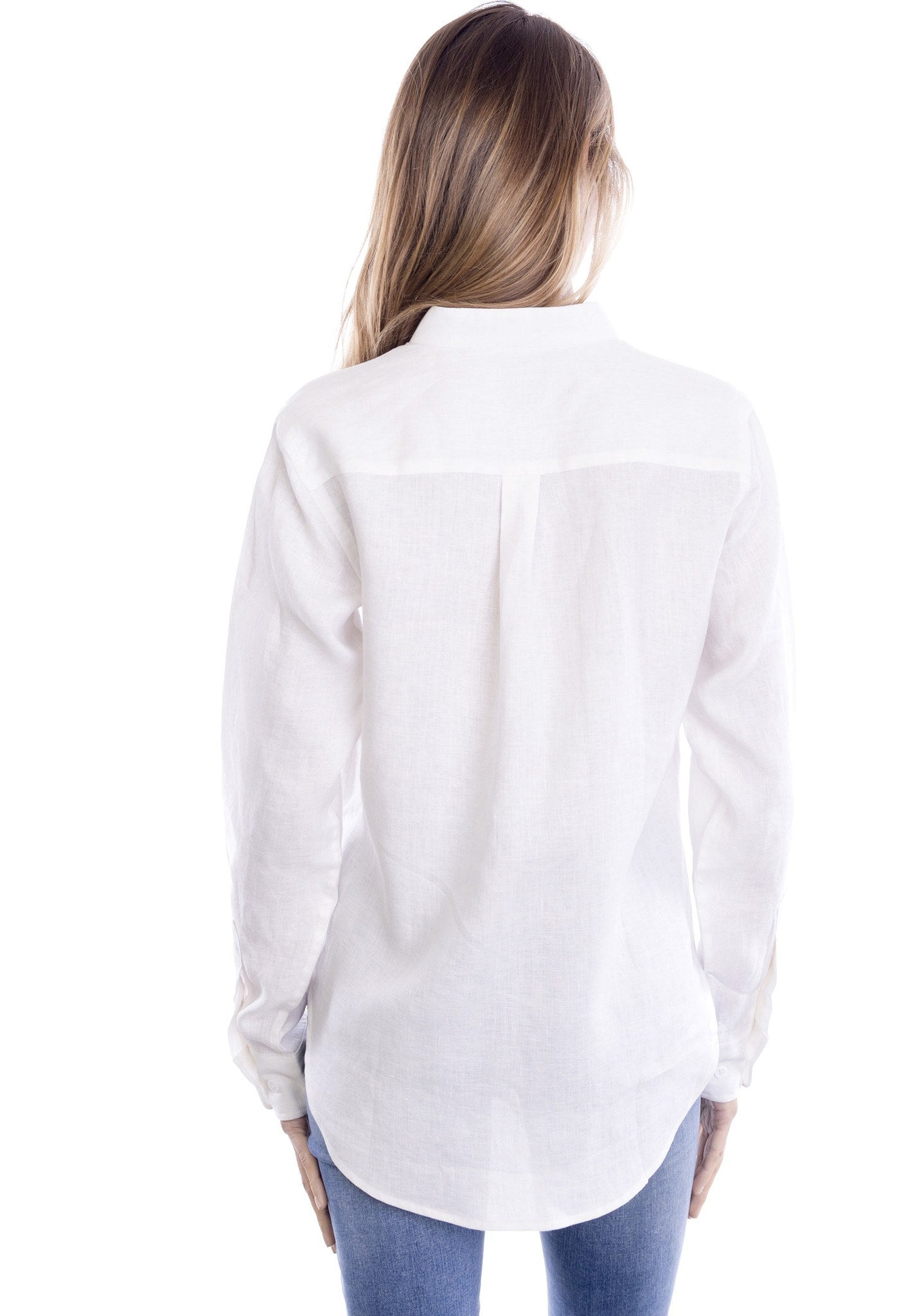 Lotus White Mandarin Collar Linen Shirt