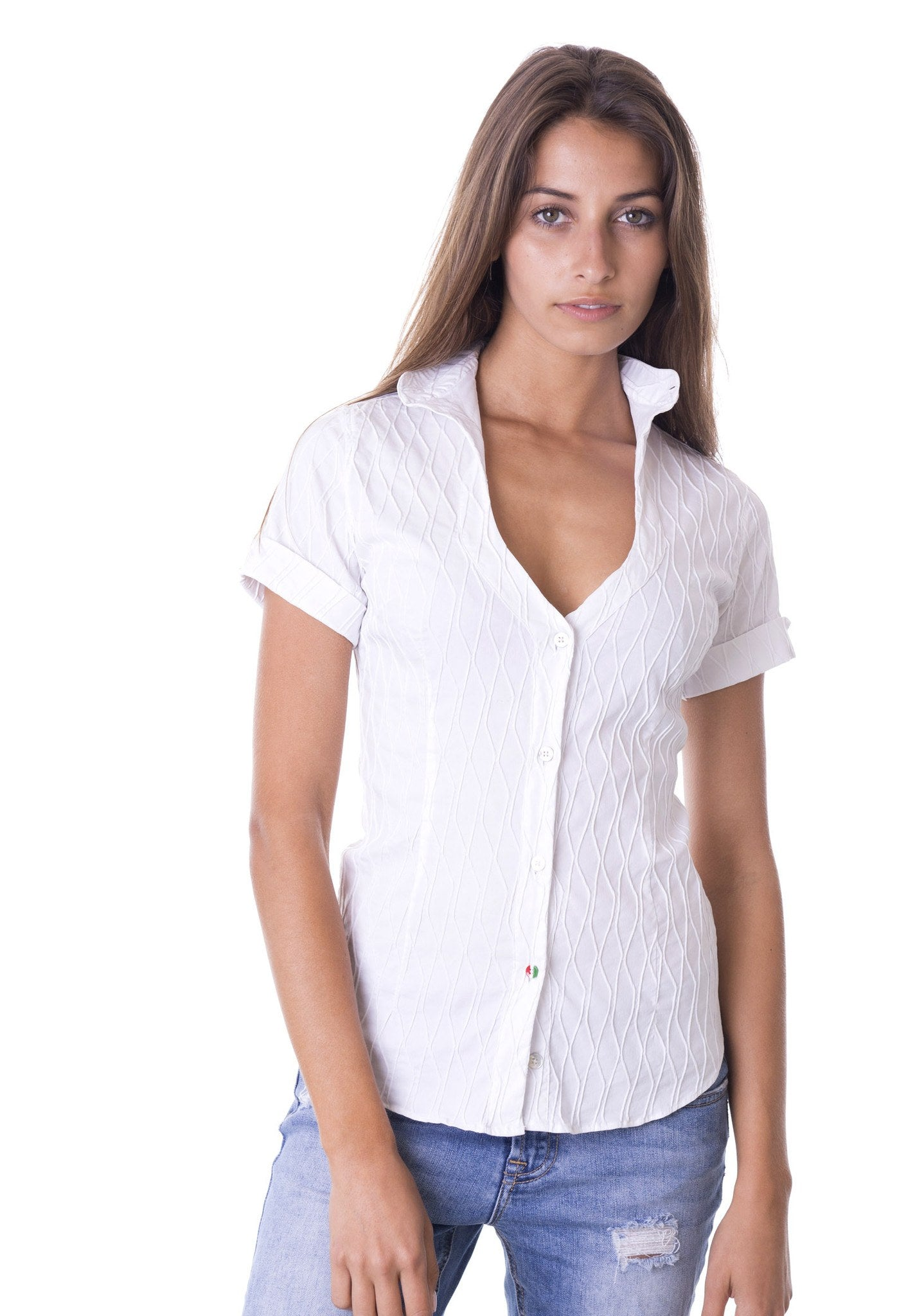 Margherita Diamond low-necked shirt with Swarovski