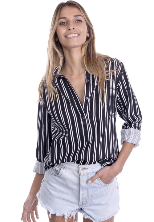 Pippa Black Pop-Over Linen Striped Shirt