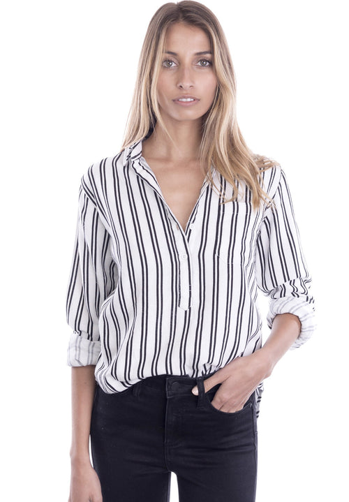 Pippa White Pop-Over Linen Striped Shirt