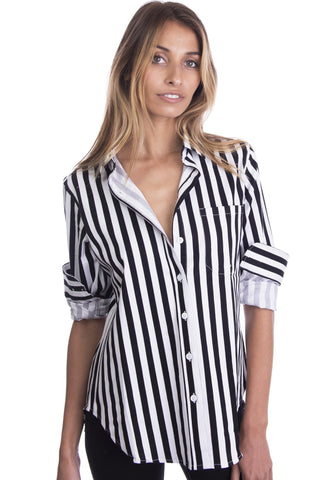 Stripe, Black & White linen thick striped shirt