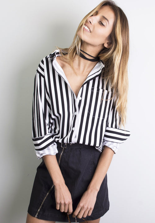 Regata Black and White Striped Boyfriend Shirt