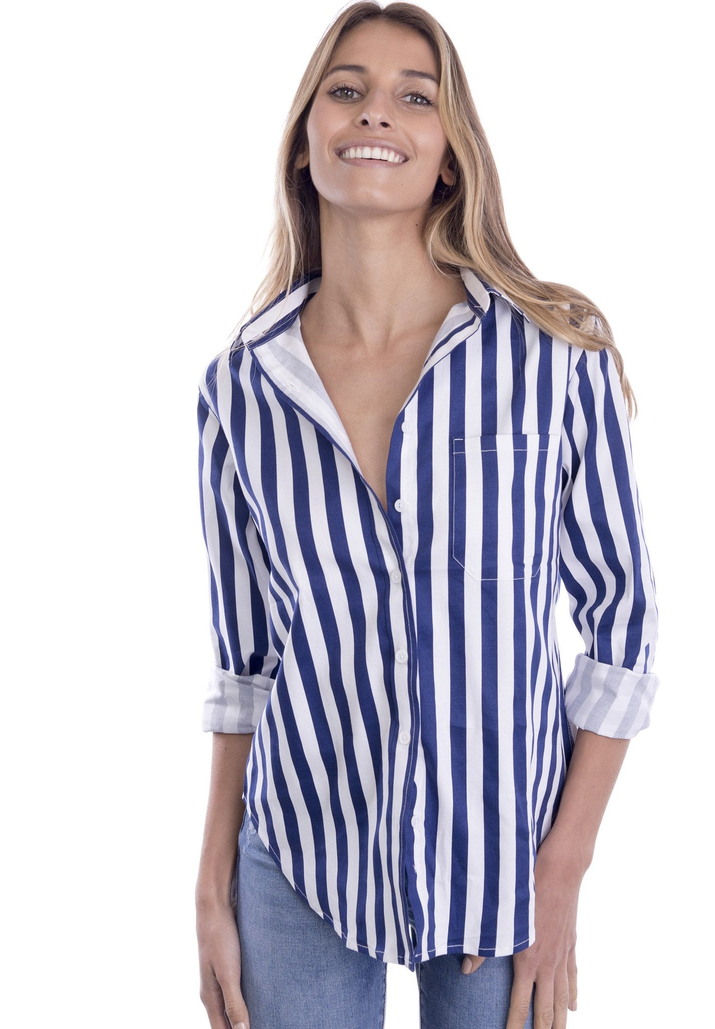 Regata Blue and White Striped Boyfriend Shirt