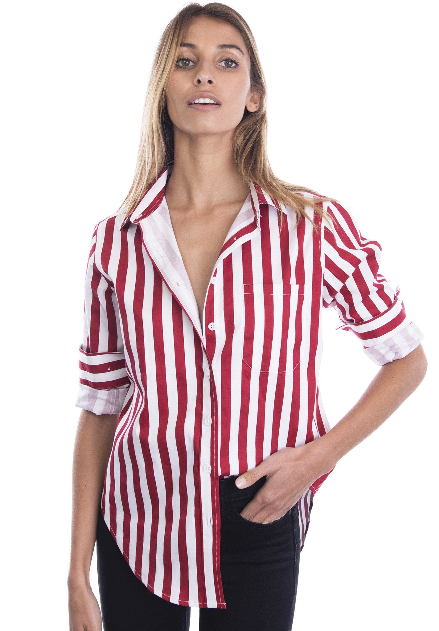 Regata Red and White Striped Boyfriend Shirt