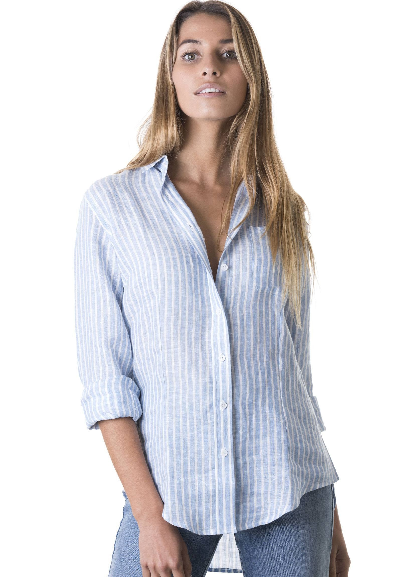 Rina Chambray, Striped Linen Shirt