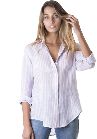 Rina Pink, Striped Linen Shirt