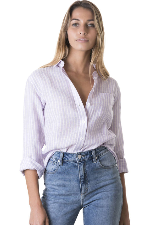 Rina Lilac, Striped Linen Shirt