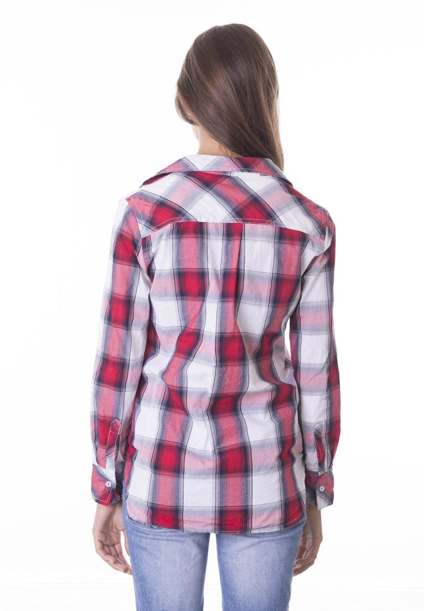 Ruby, Red & White Tartan Crushed Plaid shirt