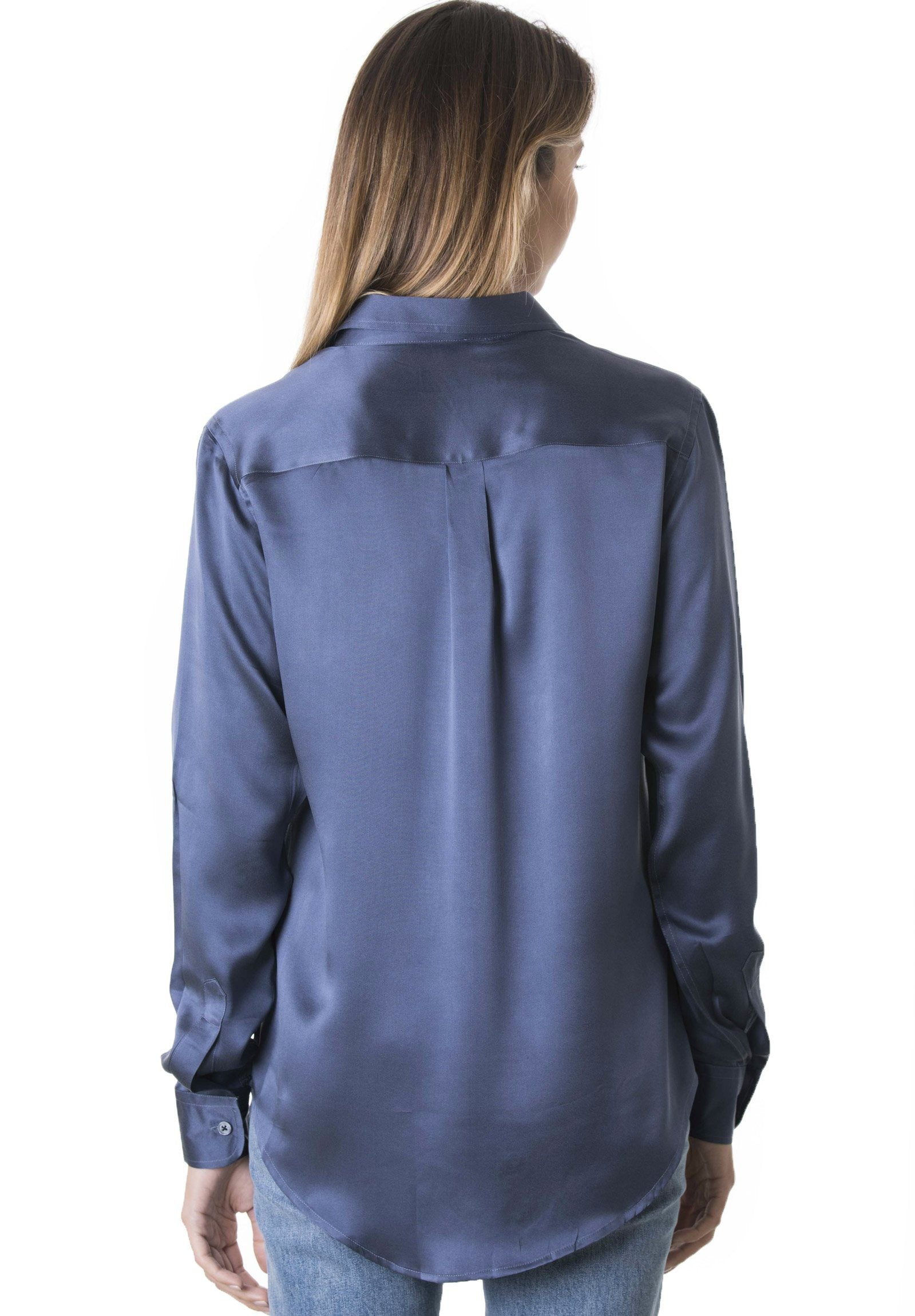 Satin Avio Blue, Pure Charmeuse Silk Shirt