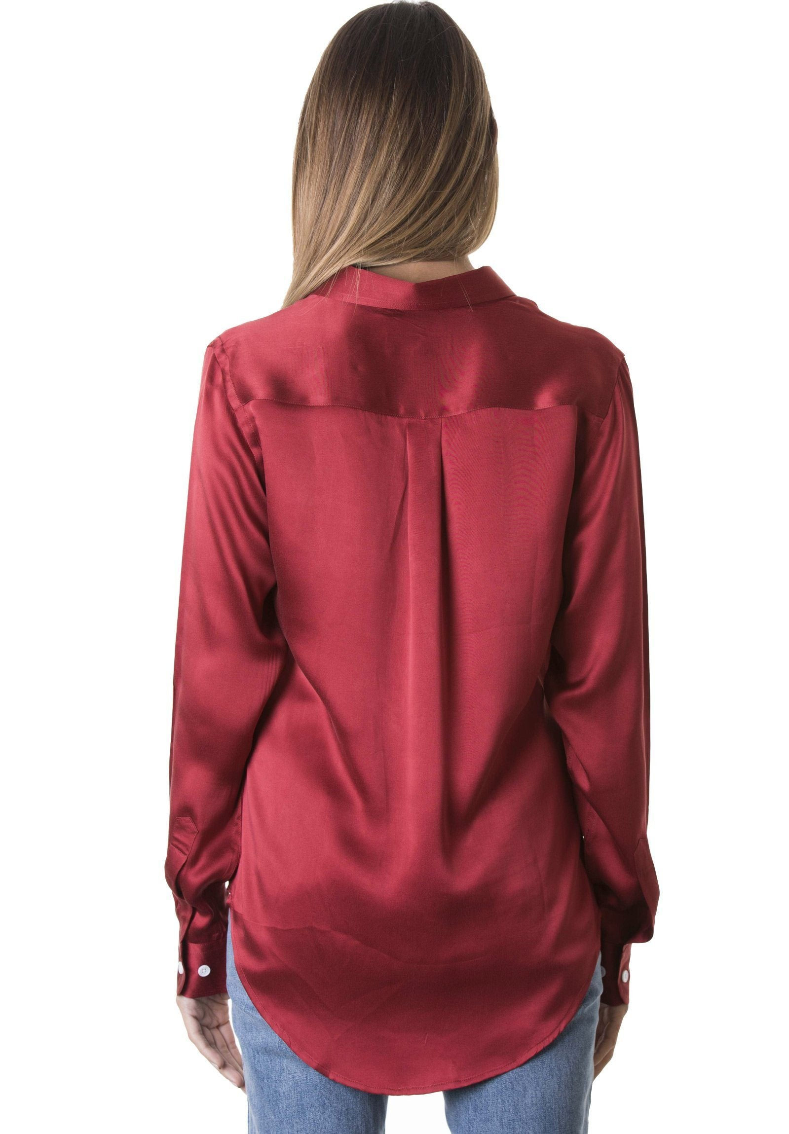 Satin Cherry Red, Pure Charmeuse Silk Shirt