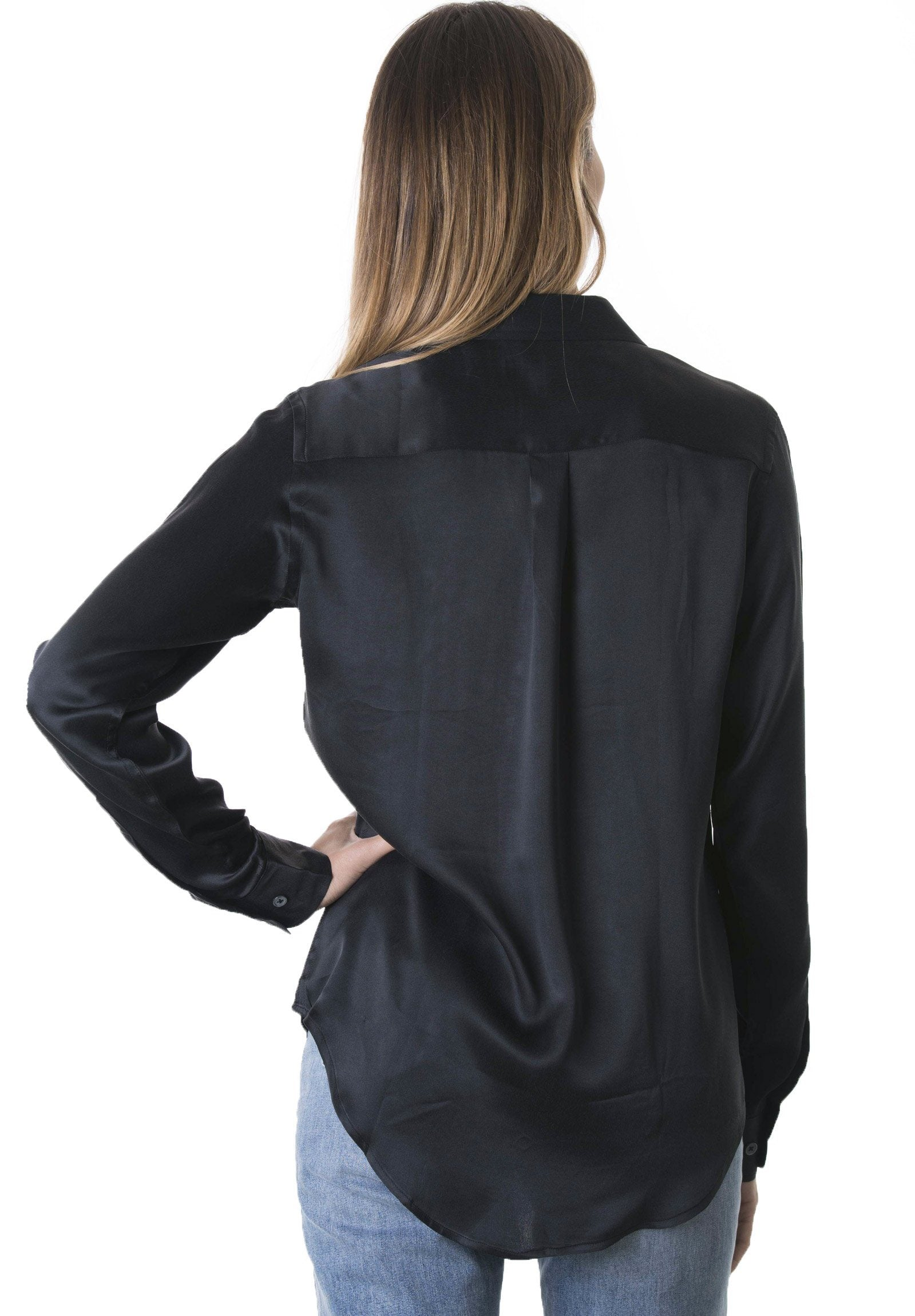 Satin Black, Pure Charmeuse Silk Shirt