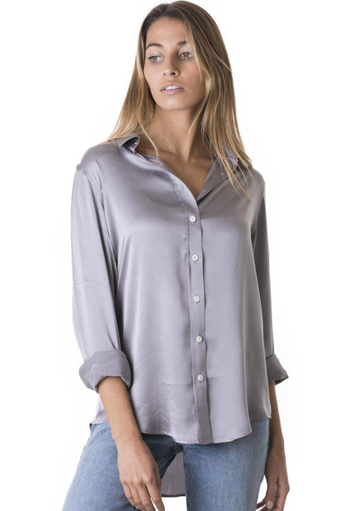 Satin Pearl Grey, Pure Charmeuse Silk Shirt