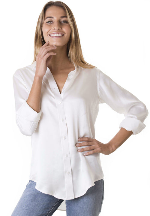 Satin White, Pure Charmeuse Silk, Boyfriend Shirt