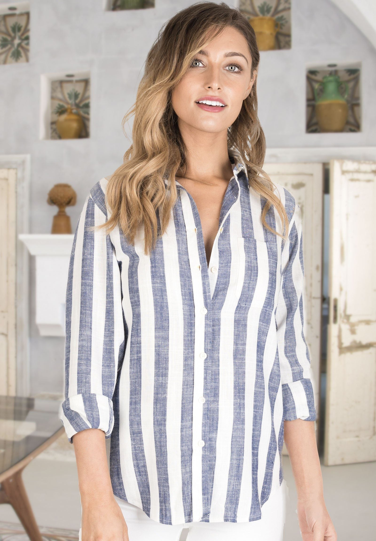 Stripe, Blue & White linen thick striped shirt