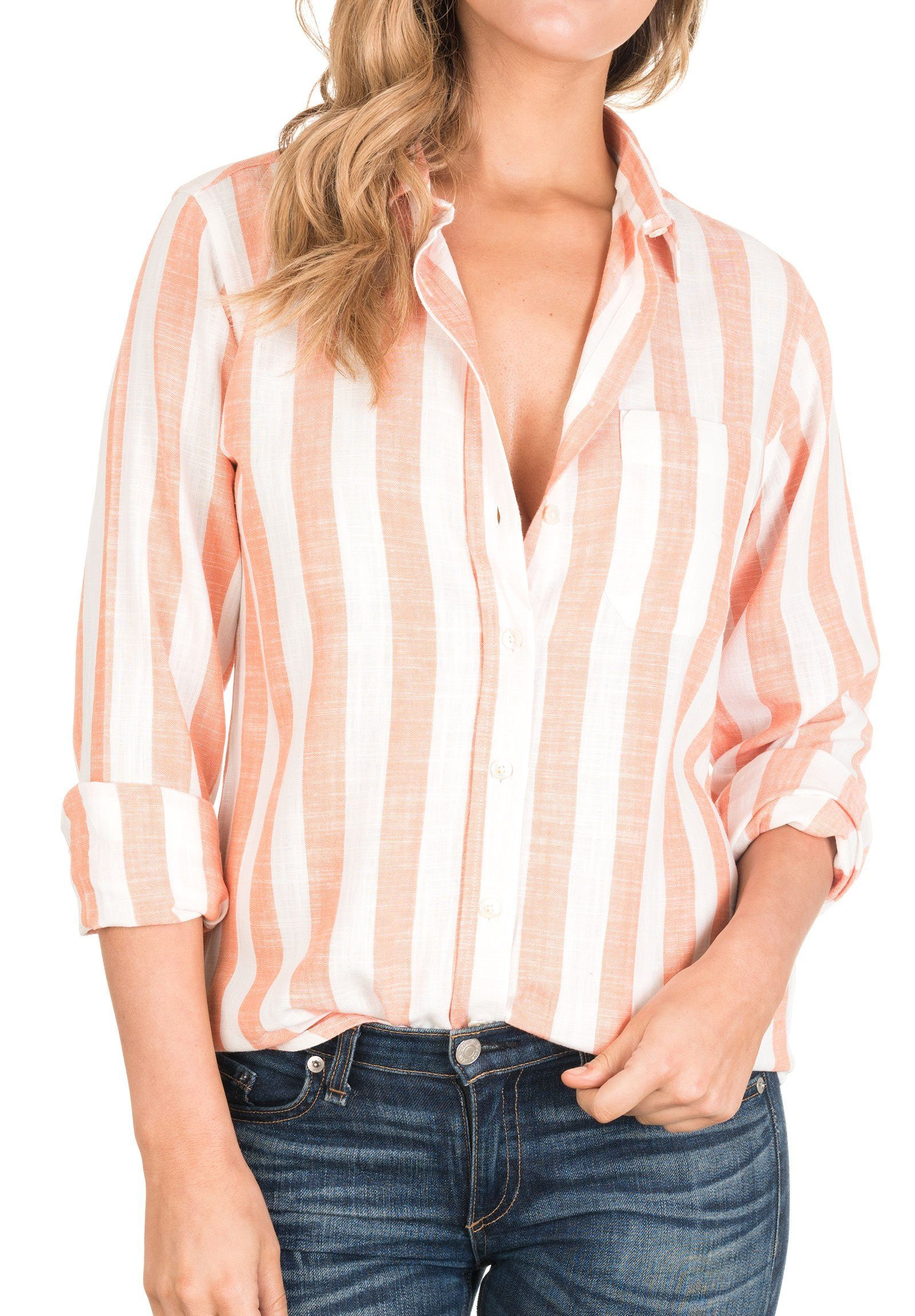Stripe, Orange & White linen thick striped shirt