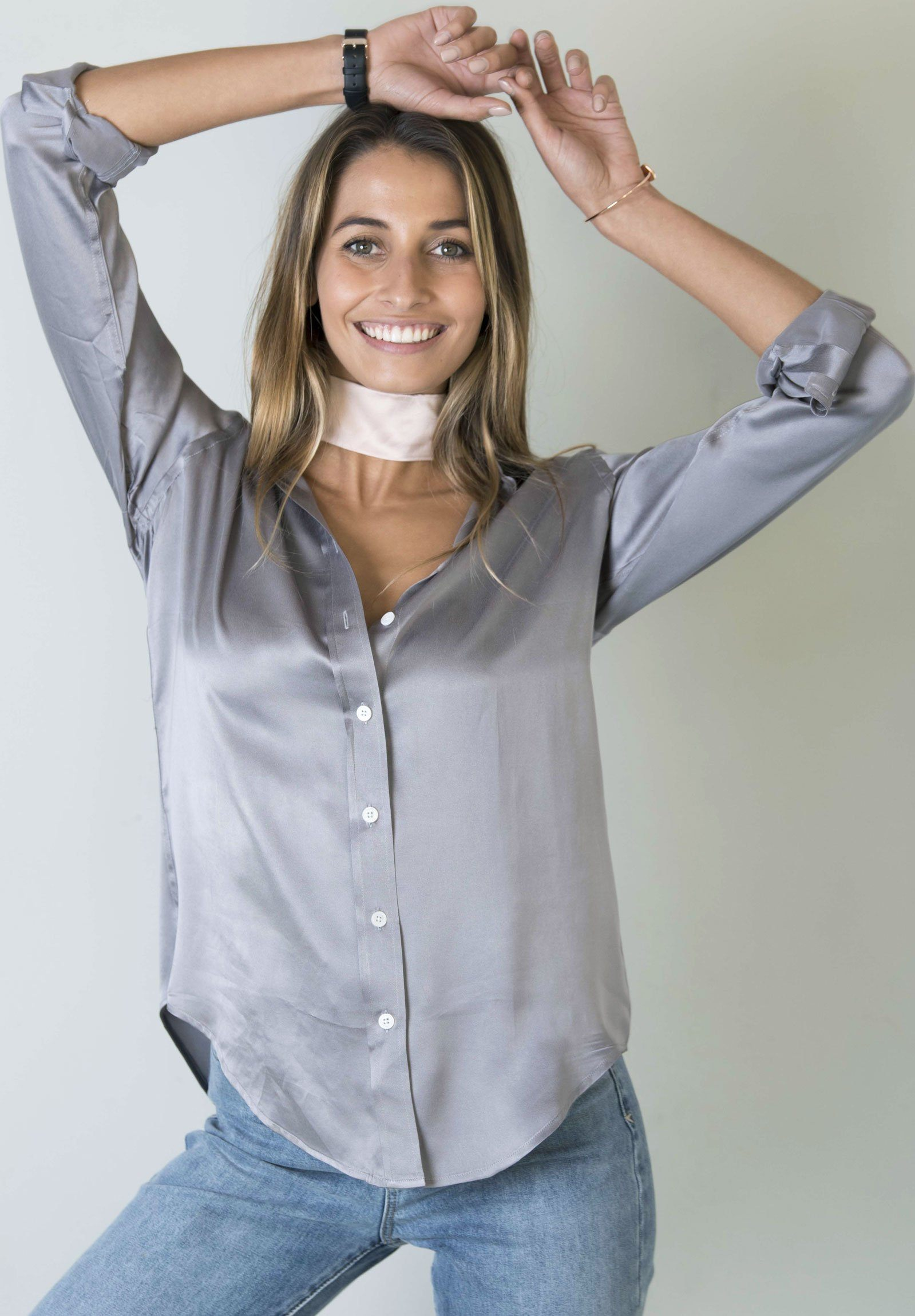 Satin Pearl Grey, Pure Charmeuse Silk, Boyfriend Shirt