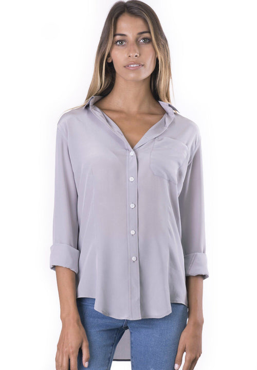 Seta Grey, Pure Crepe de Chine Silk, Slim-Fit Shirt