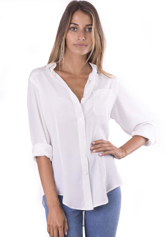 Satin White, Pure Charmeuse Silk Shirt