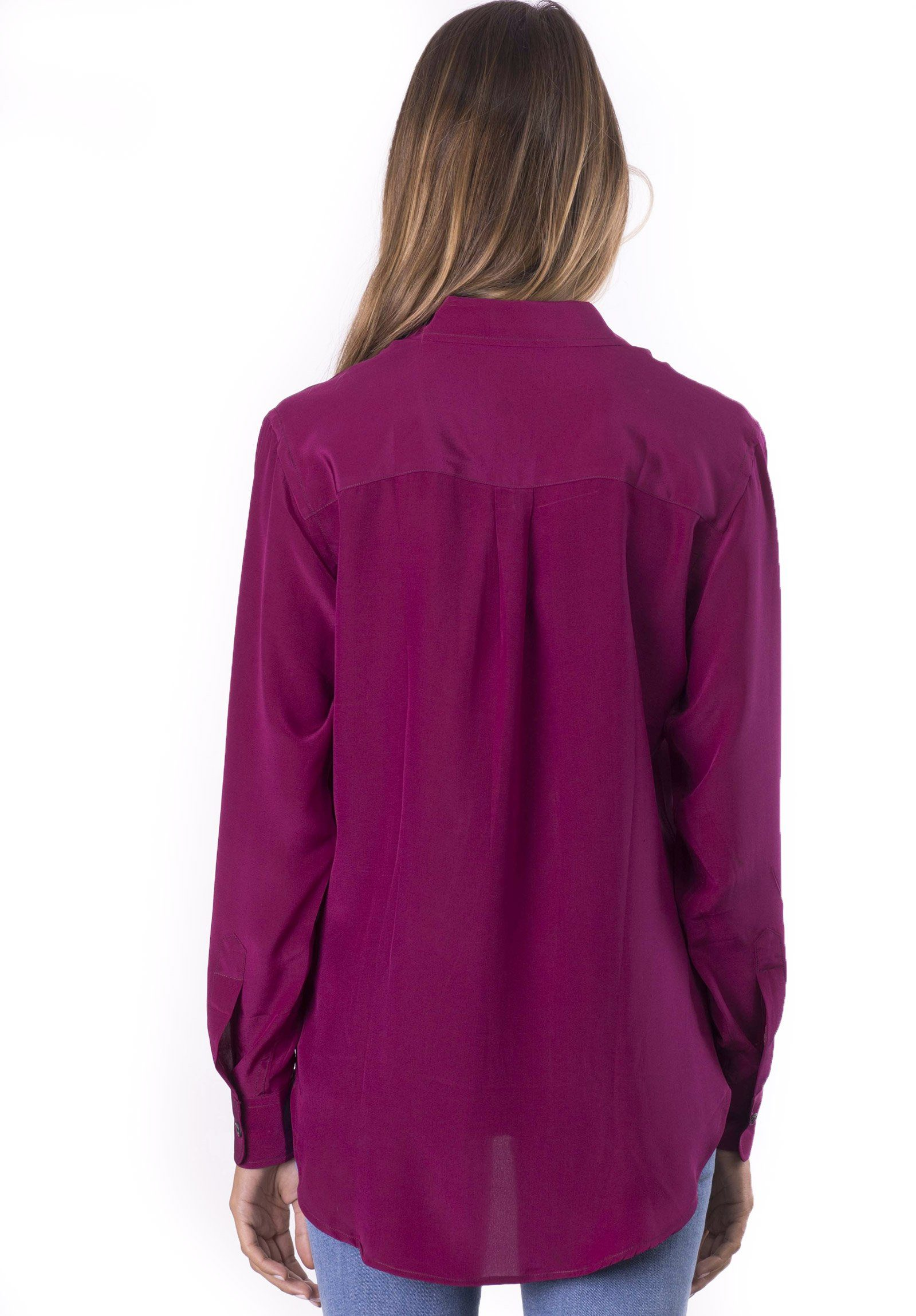 Seta Wine, Pure Crepe de Chine Silk, Slim-Fit Shirt