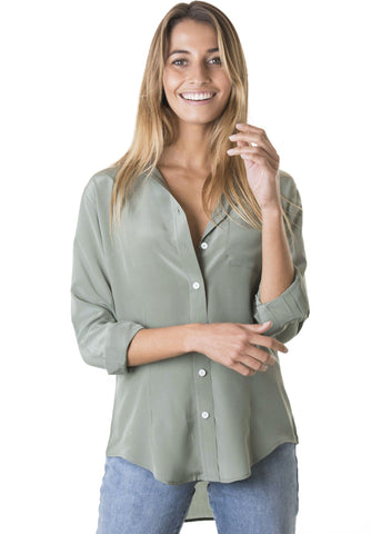 Satin Olive Green, Pure Charmeuse Silk Shirt