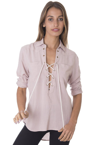 Venus BLUSH, LACE-UP BLOUSE