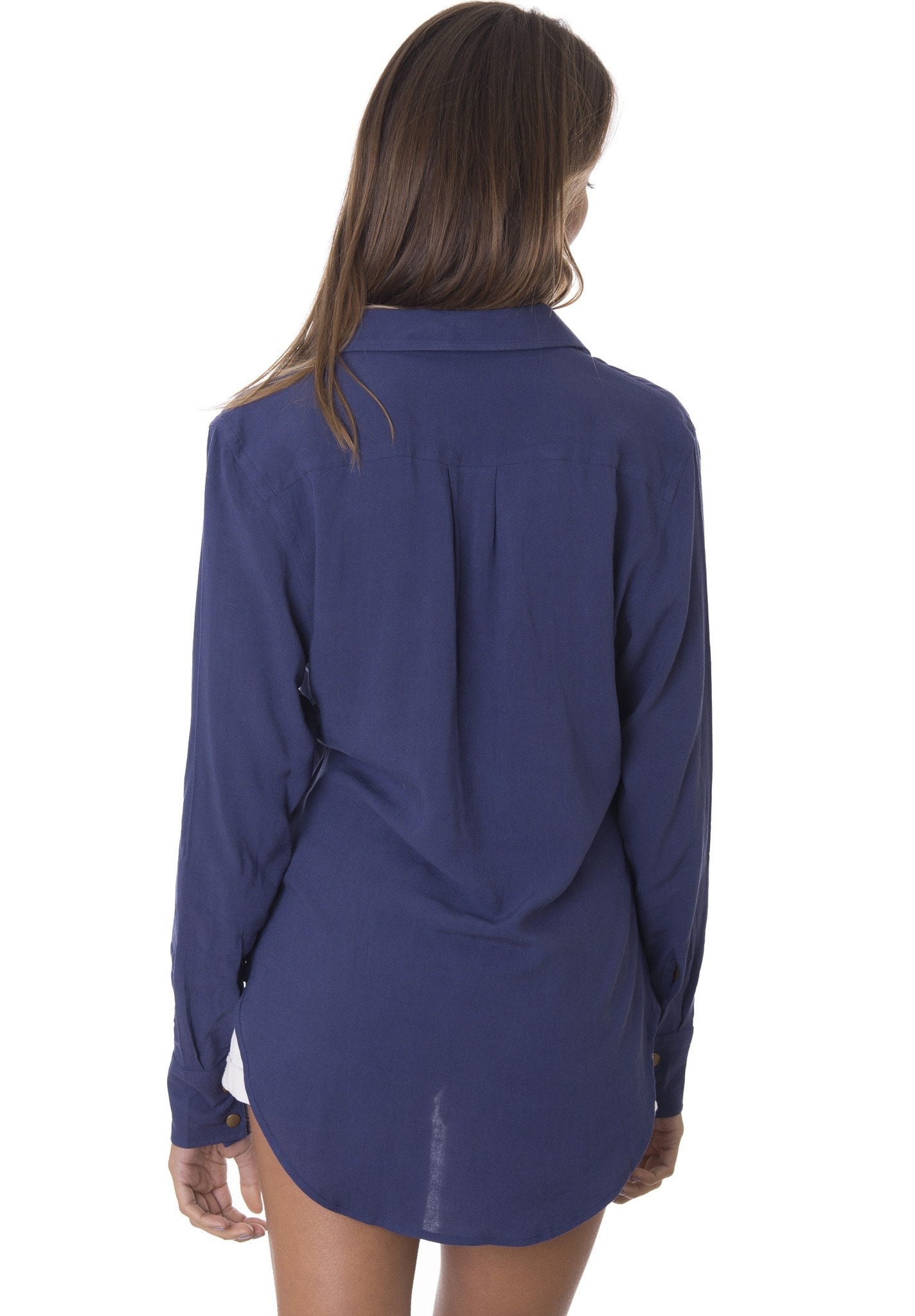 Venus Navy Blue, LACE-UP BLOUSE