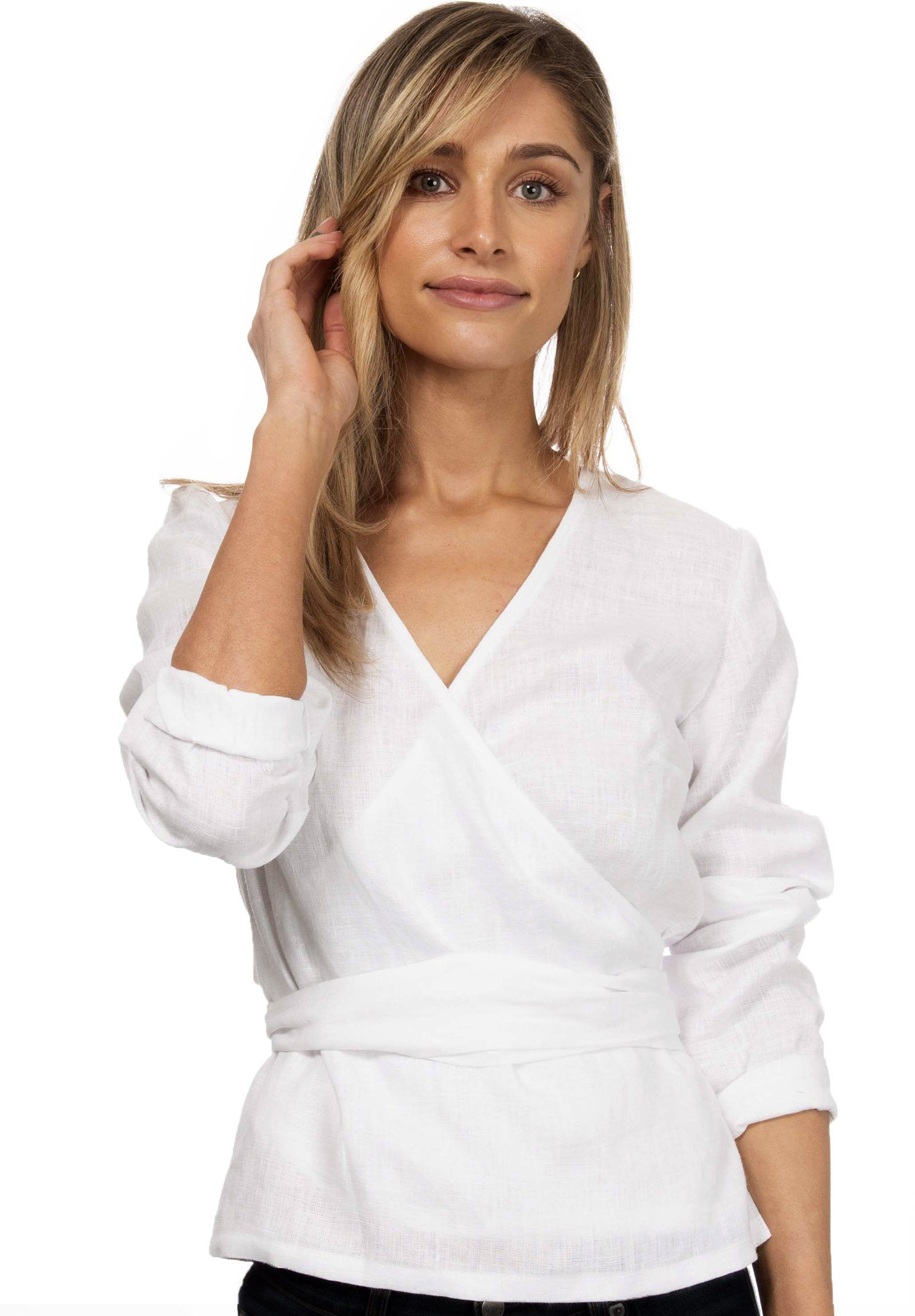 Veronica White Wrap Linen Blouse
