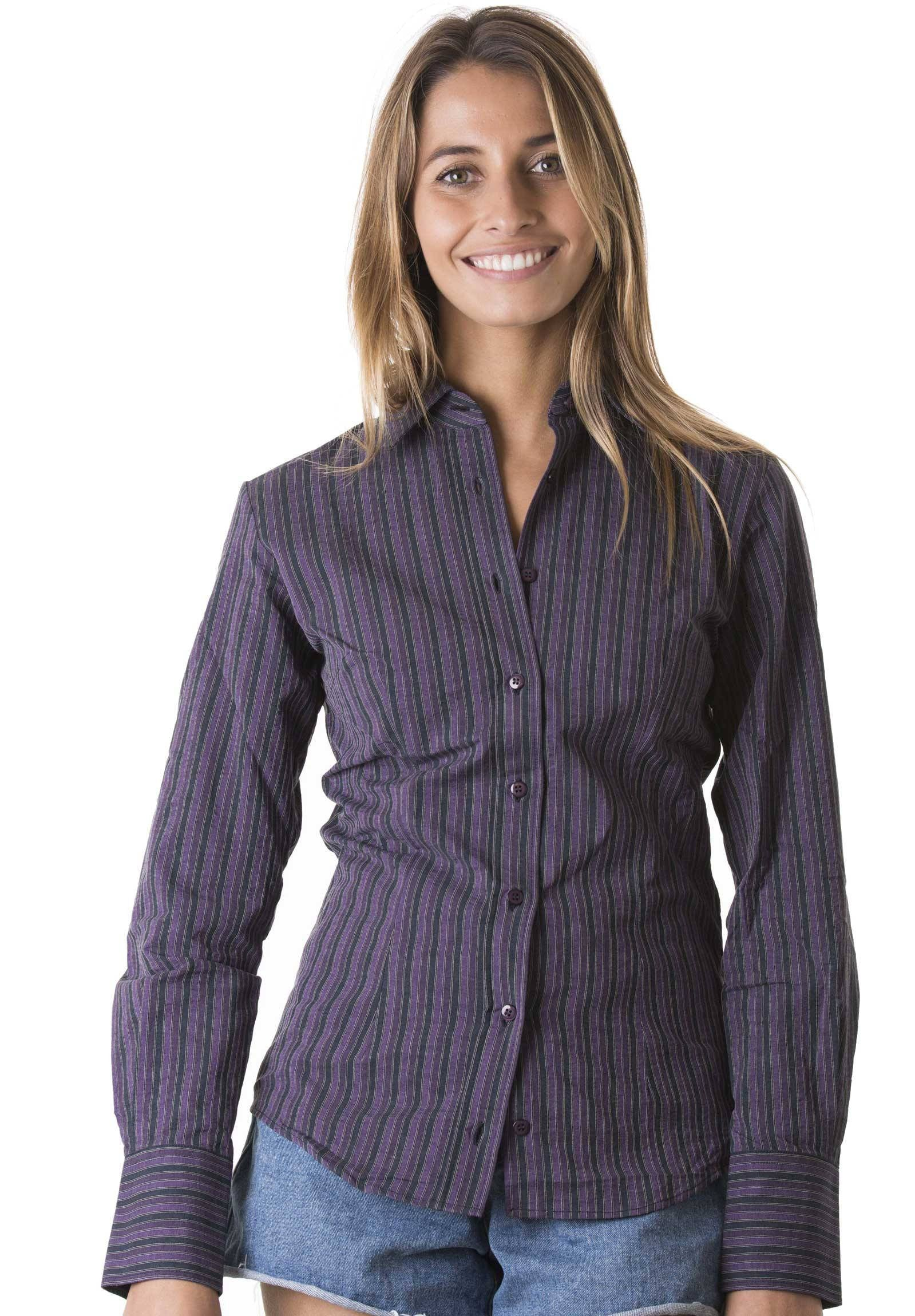 Beatrice purple stripes fitted shirt