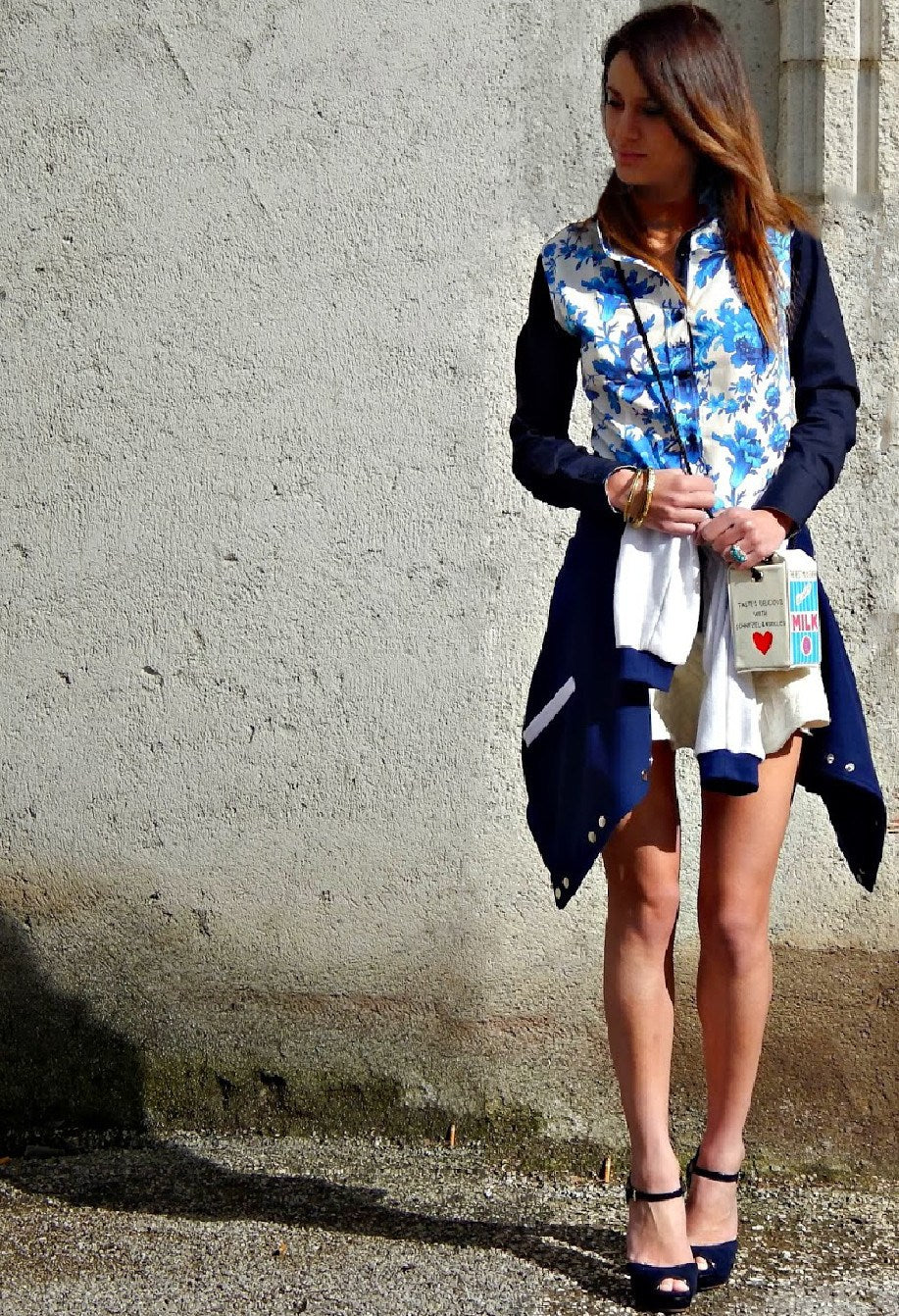 Jouy Blue Floral fitted shirt