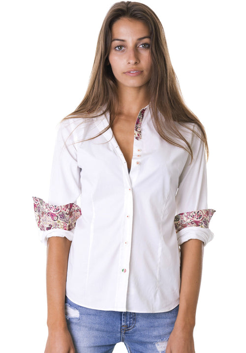 Viola White Tailored Shirt with Paisley contrasts