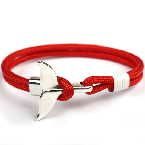 Bracelet marine queue de baleine rouge