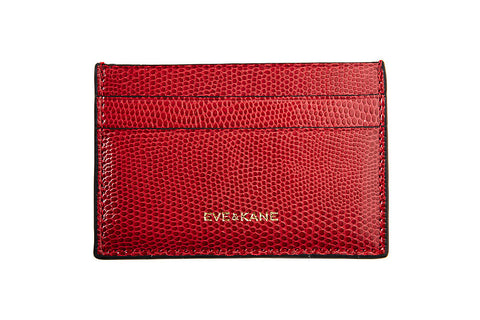 Red Lizard Embossed Leather - Black Edges