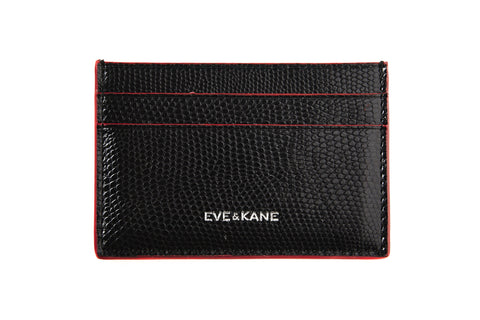 Black Lizard Embossed Leather - Red Edges