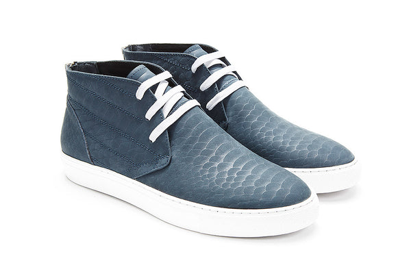 Brooklyn - Matte Navy Python Embossed Leather