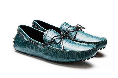 *PRE-ORDER* St.Tropez - Teal Crocodile Embossed Leather