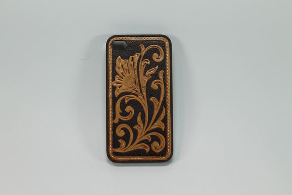 Funda Iphone 4/4s De Piel Cincelada Natural/Black