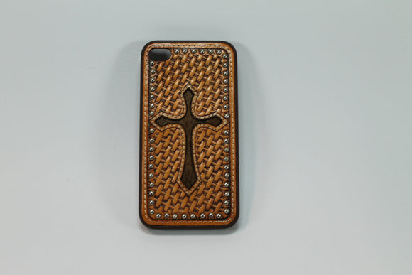 Funda Iphone 4/4s De Piel Cincelada Con Cruz