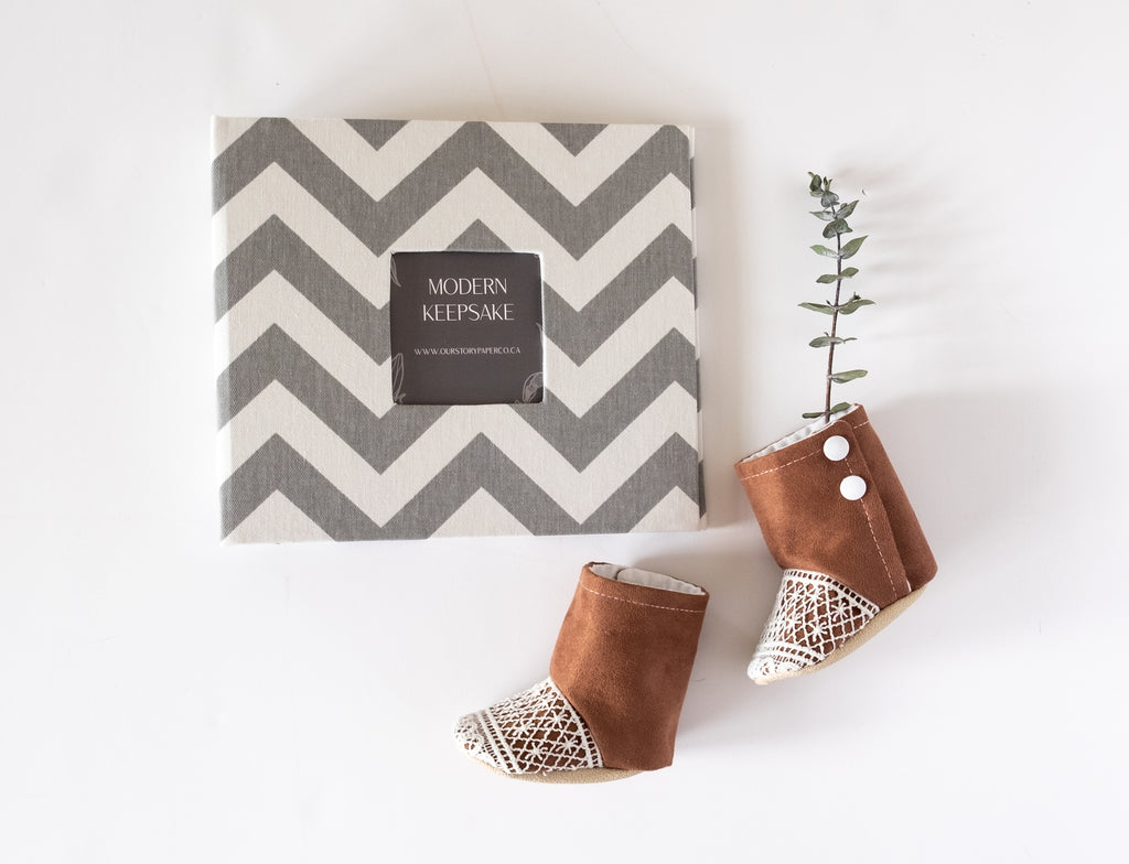 Grey Chevron Keepsake Album