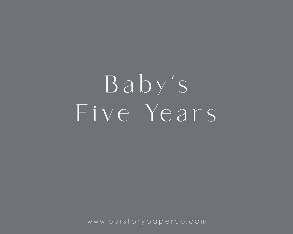 Baby's Five Year Keepsake Album Inserts