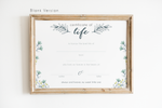 Miscarriage Keepsake - Certificate of Life